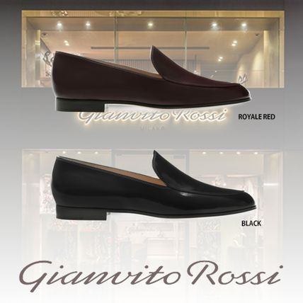 Gianvito Rossi Loafer & Moccasin Round Toe Casual Style Plain Leather Block Heels
