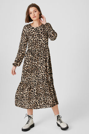 Leopard Patterns Casual Style Flared U-Neck Long Sleeves