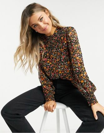 Short Flower Patterns Casual Style Long Sleeves Cropped