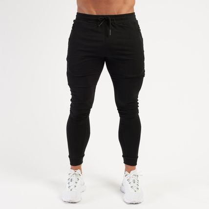 VANQUISH FITNESS Logo Tapered Pants Unisex Plain Cotton Street Style