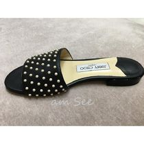 Jimmy Choo Open Toe Casual Style Studded Plain Leather Party Style
