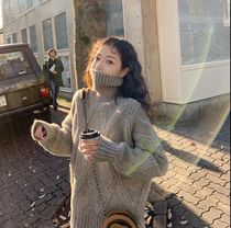 Cable Knit Street Style Long Sleeves Plain Medium High-Neck