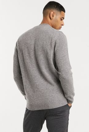 Crew Neck Wool Long Sleeves Plain Logo Sweaters
