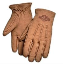 Harley Davidson Plain Leather Logo Leather & Faux Leather Gloves