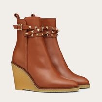 VALENTINO Platform Casual Style Studded Plain Leather Party Style