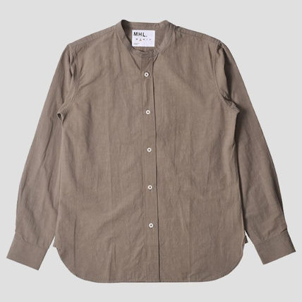 Linen Street Style Long Sleeves Plain Cotton Shirts