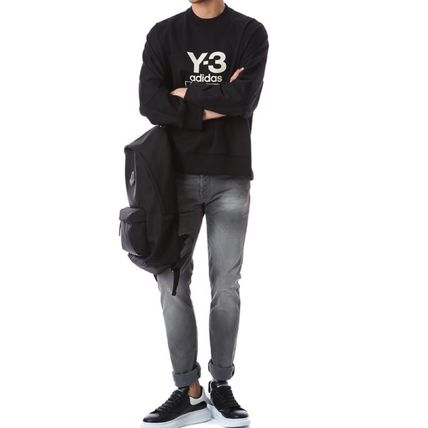 Y-3 Sweatshirts Unisex Sweat Street Style Long Sleeves Plain Cotton Logo 9