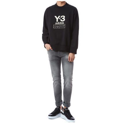 Y-3 Sweatshirts Unisex Sweat Street Style Long Sleeves Plain Cotton Logo 8