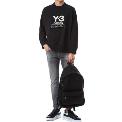 Y-3 Sweatshirts Unisex Sweat Street Style Long Sleeves Plain Cotton Logo 10