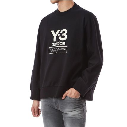 Y-3 Sweatshirts Unisex Sweat Street Style Long Sleeves Plain Cotton Logo 6