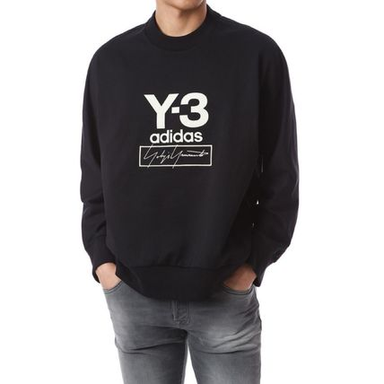 Y-3 Sweatshirts Unisex Sweat Street Style Long Sleeves Plain Cotton Logo 2