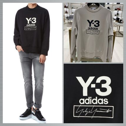Y-3 Sweatshirts Unisex Sweat Street Style Long Sleeves Plain Cotton Logo