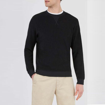 Crew Neck Cable Knit Pullovers Long Sleeves Plain Cotton
