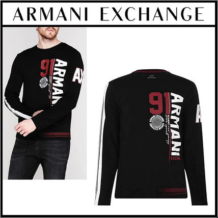A/X Armani Exchange Long Sleeve Crew Neck Pullovers Long Sleeves Cotton Logos on the Sleeves