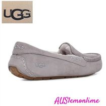 UGG Australia ANSLEY Moccasin Rubber Sole Casual Style Suede Plain Slippers Logo