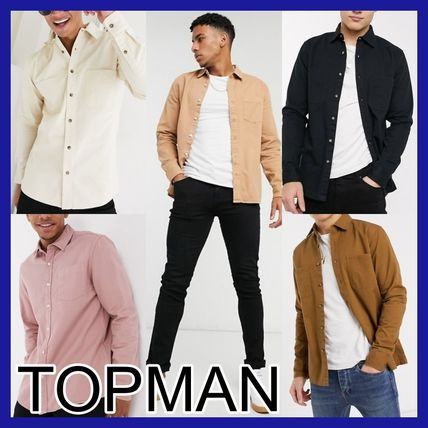TOPMAN Shirts Long Sleeves Plain Cotton Shirts