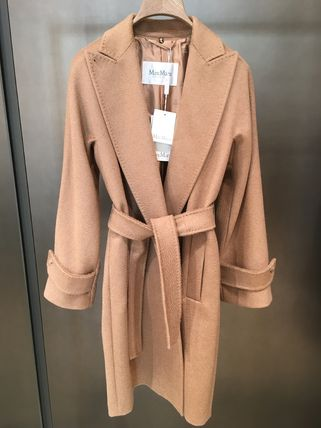 MaxMara Stand Collar Coats Wool Plain Medium Office Style