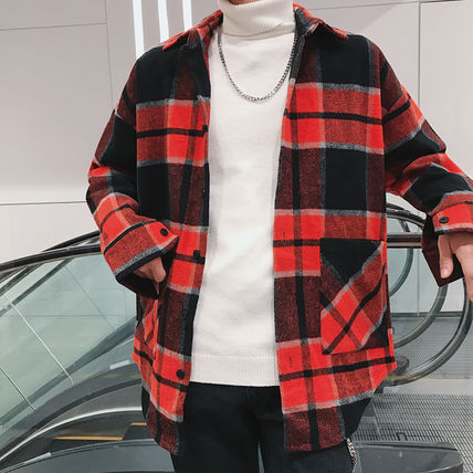 Shirts Tartan Other Plaid Patterns Long Sleeves Front Button Shirts 13