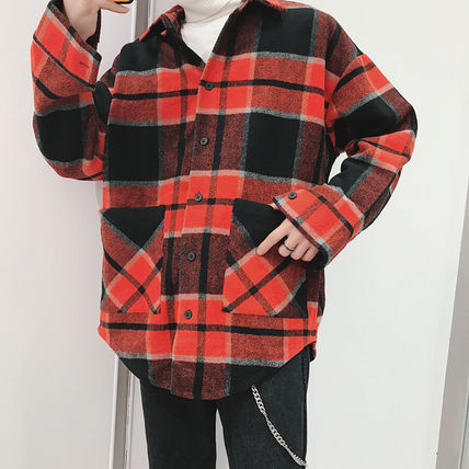 Shirts Tartan Other Plaid Patterns Long Sleeves Front Button Shirts 15