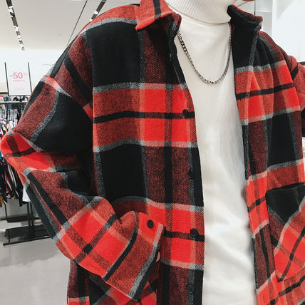 Shirts Tartan Other Plaid Patterns Long Sleeves Front Button Shirts 17