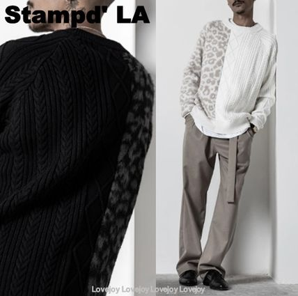 Crew Neck Cable Knit Pullovers Leopard Patterns Unisex