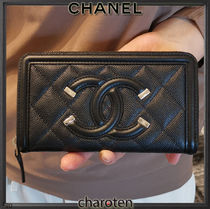 CHANEL ICON Unisex Calfskin Plain Leather Long Wallet  Small Wallet Logo