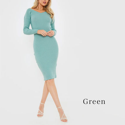 Tight V-Neck Long Sleeves Plain Medium Party Style Midi