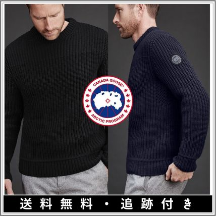 CANADA GOOSE Cable Knit Pullovers Monogram Wool Henry Neck Street Style