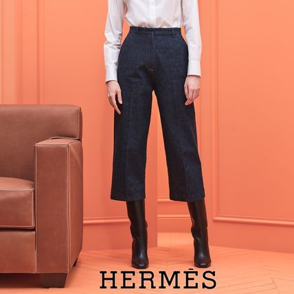 HERMES Plain Cotton Center Pressed Wide & Flared Jeans