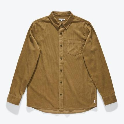Button-down Corduroy Blended Fabrics Street Style Bi-color