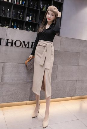 Pencil Skirts Casual Style Medium Midi Skirts