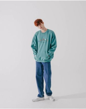WV PROJECT Crew Neck Unisex Street Style Long Sleeves Cotton Oversized
