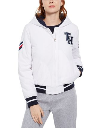 Tommy Hilfiger Casual Style Nylon Plain Medium Logo Varsity Jackets