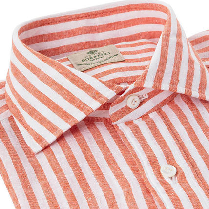 Stripes Linen Street Style Long Sleeves Cotton Shirts