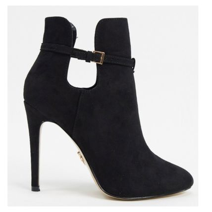 Round Toe Casual Style Suede Faux Fur Plain Pin Heels