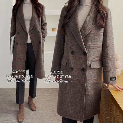 Other Plaid Patterns Wool Long Coats