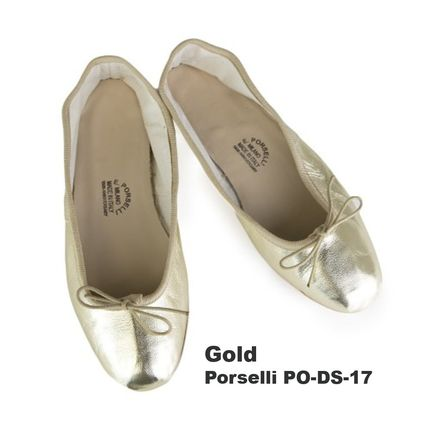 Plain Leather Metallic Ballet Shoes