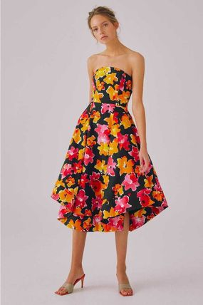 Flower Patterns Tropical Patterns A-line Flared Medium Midi