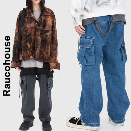 Raucohouse More Jeans Slax Pants Denim Street Style Collaboration Plain Jeans