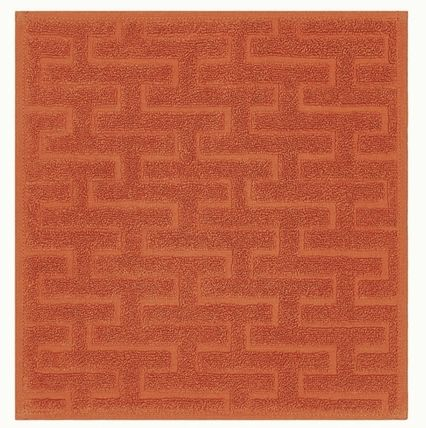 HERMES Plain Cotton Logo Handkerchief