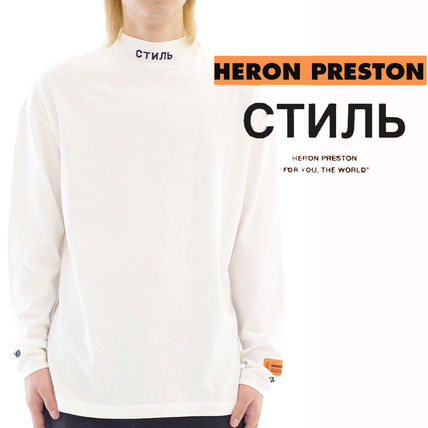 Unisex Street Style Long Sleeves Plain Cotton