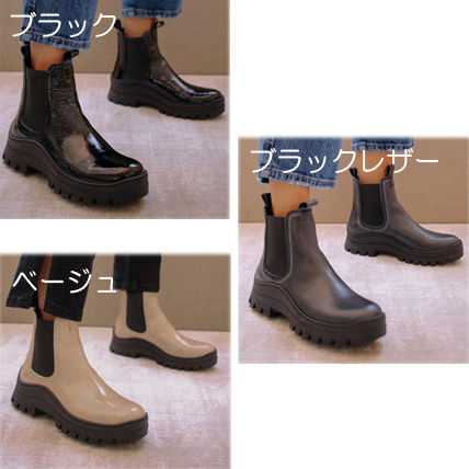 Platform Casual Style Faux Fur Leather Mid Heel Boots