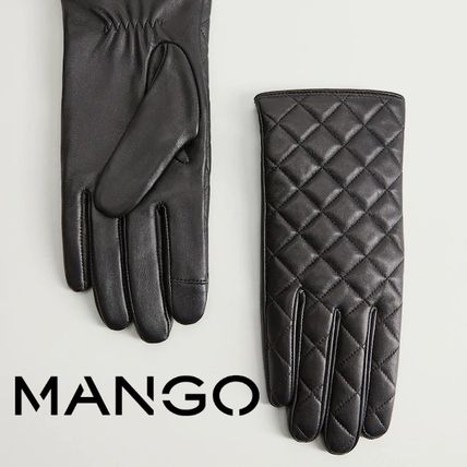 MANGO Leather Leather & Faux Leather Gloves