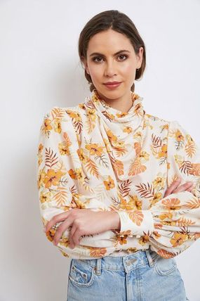 Flower Patterns Casual Style Silk Cotton Office Style