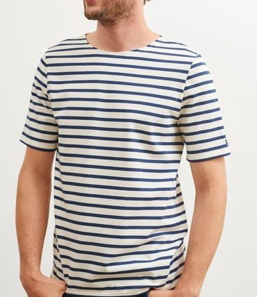 Stripes Boat Neck Cotton Short Sleeves T-Shirts