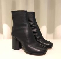 Maison Margiela Tabi Plain Leather Block Heels Elegant Style Logo High Heel Boots