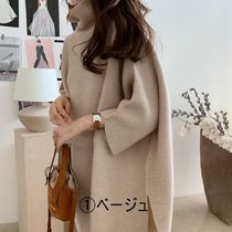 Casual Style Plain Long Elegant Style Turtlenecks