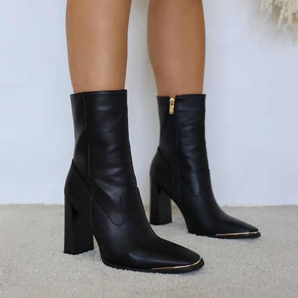Casual Style Plain Block Heels High Heel Boots