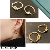CELINE Knot Small Hoops In Brass With Rhodium Finish