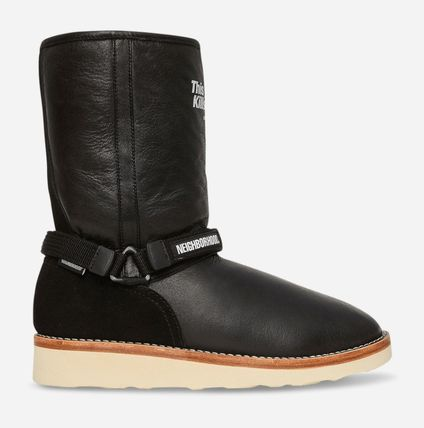 Suede Plain Leather Logo Boots